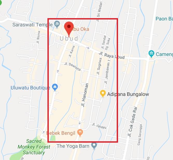 Ubud Bali Stay Map