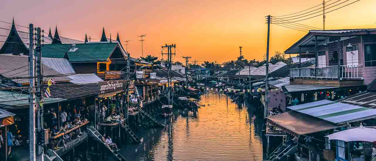 Touring Bangkok's Floating Market Train & Railway Markets Wat Bang Kung Temple
