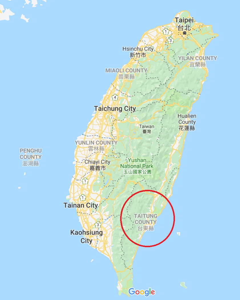 Morry Travels Map of Taitung Taiwan